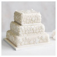 Blossom 3 Tier Ivory Wedding Cake, Golden Sponge (all tiers)