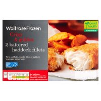 Waitrose MSC frozen 2 line caught battered haddock fillets