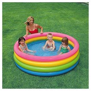 Intex inflatable sunset glow paddling pool waitrose for Large paddling pool