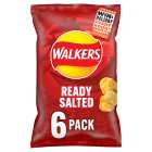 Walkers ready salted plain multipack crisps - 6x25g