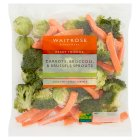 Waitrose ready prepared carrots, broccoli & sprouts - 500g