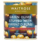 Waitrose green olives with pimiento - drained 85g
