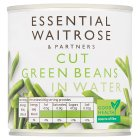 essential Waitrose canned cut green beans in water - drained 205g