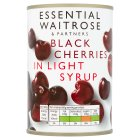 essential Waitrose Black Cherries (in light syrup) - drained 213g