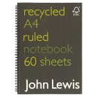 John Lewis recycled A4 ruled notebook - each