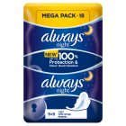 Always Ultra Night Duo Pack Sanitary Towels Multipack 18PK - 18s Brand Price Match - Checked Tesco.com 22/10/2014