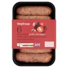 Waitrose 6 British pork sausages with tomato salsa & mixed herbs - 400g