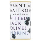 Waitrose, pitted black olives in brine in a can - drained 150g