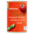 Waitrose tinned chopped tomatoes with chopped basil - 400g