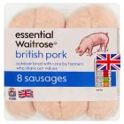 essential Waitrose 8 British pork sausages - 454g