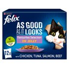 Felix 'As Good as it Looks' 12 pouches - Favourites Selection in jelly - 12x100g Brand Price Match - Checked Tesco.com 28/05/2015