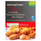 Waitrose Frozen 6 MSC line caught chunky battered haddock fingers - 300g