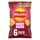 Walkers smoky bacon crisps - 6x25g