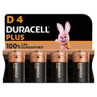 Duracell Plus Power D4 Batteries Alkaline - 4s