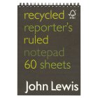 John Lewis recycled reporter's notepad - each