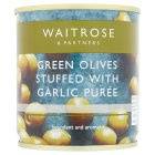 Waitrose stuffed green olives/garlic - drained 85g
