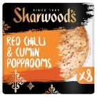 Sharwood's red chilli & cumin puppodums - 8s Brand Price Match - Checked Tesco.com 11/12/2013