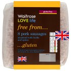Waitrose 8 British Outdoor Bred Cambridge Gluten Free pork sausages - 454g