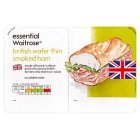 essential Waitrose British wafer thin smoked ham - 2x90g
