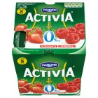 Danone Activia 0% fat free strawberry/raspberry - 8x125g