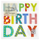 Waitrose 33cm Happy Birthday napkins, pack of 20 - 20s