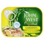 John West natural grilled sardines with a slice of lemon