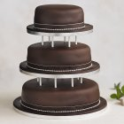 Soft Iced 3 Tier Chocolate Wedding Cake with Dowling , chocolate (all tiers) - each