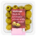 Waitrose olives with pesto - 140g