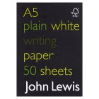 John Lewis FSC A5 plain writing paper - each