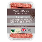 Waitrose 12 Aberdeen Angus beef & black pepper chipolatas - 340g
