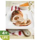 Parma ham wrapped turkey breast with sun-dried tomato and basil sausage meat stuffing -