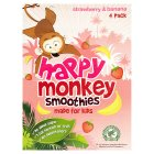 Happy Monkey strawberry & banana smoothies - 4x180ml
