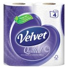 Velvet quilted white toilet tissue
