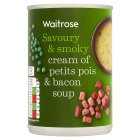 Waitrose cream of petit pois & smoked bacon