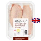 essential Waitrose 2 British part boned chicken breasts - 500g