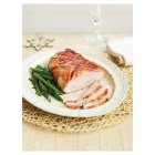 Butter basted turkey breast with a smoked bacon lattice -