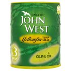 John West yellowfin tuna steak in olive oil, 3 pack - drained 3x112g