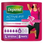 Depend Active-Fit Underwear Womens Large - 8s