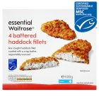 essential Waitrose 4 frozen line caught battered haddock fillets - 600g