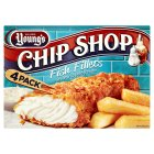 Young's chip shop 4 fish fillets in batter - 400g