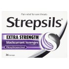 Strepsils 36 extra strength blackcurrant lozenges - 36s