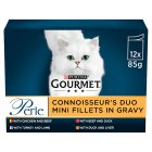 GOURMET Perle Adult Cat Mini Fillets in Gravy Meat Duo Wet Cat Food Pouch - 12x85g