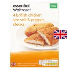 essential Waitrose 4 British chicken sea salt & pepper steaks - 380g