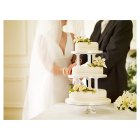 Ivory Lily & Rose Sugar Flower Wedding Cake - Vanilla (Fruit Top Tier) - 3 Tier -