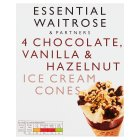 essential Waitrose chocolate & vanilla cones - 6x100ml