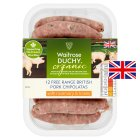 Waitrose Duchy Organic 12 British free range pork chipolatas with rosemary and honey - 340g