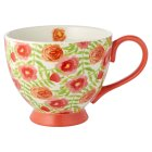 Waitrose Floral Footed Mug Coral -
