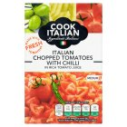 Cook Italian chopped tomatoes with chilli