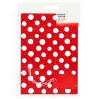 essential Waitrose red spot giftwrap, pack of 2 sheets - 2s