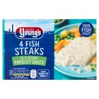 Youngs fish steaks in parsley sauce